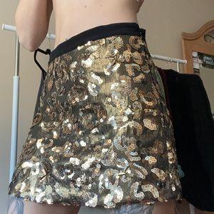 Gold Mid-Rise Skirt